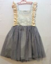 NWT Little Trendsetters Ivory Lace Bow Blue Gray Tulle Dress, 6