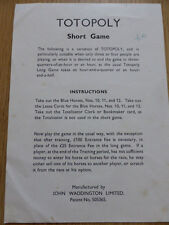 TOTOPOLY SHORT GAME INSTRUCTION,RULES,MANUAL.VINTAGE 1949,WADDINGTON