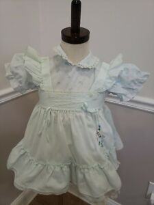 Vintage Floral Pinafore Style Toddler Dress Length Dress 17""