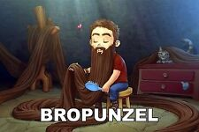 Disney Bropunzel Sticker Design - Retro Funny Joke Rapunzel Men Man Beard Facial