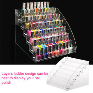 ACRYLIC NAIL POLISH RACK ORGANIZER TIERS MAKEUP COSMETIC DISPLAY SHELF FADDISH