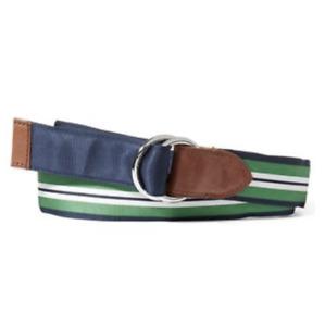NWT Polo Ralph Lauren Grosgrain Reversible O Ring Belt Navy/green/white S M L