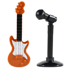 Custom Minifig Dark Orange Color Electric Guitar, Mic & Lego Stand *NEW*