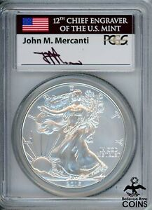 2015-W US 1oz Silver Eagle Coin PCGS SP70, 1st Day o/Issue Mercanti Signed