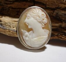 800 Silver Hand Carved Cameo Lady Brooch/Pendant 1930s Antique Italy