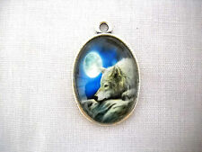 FULL MOON NIGHT w WHITE WOLF AT REST GLASS CABOCHON OVAL ALLOY PENDANT NECKLACE
