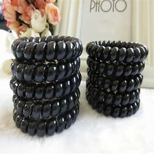 12x Elastic Girl Rubber Telephone Wire Style Hair Ties Plastic Rope Hair Band US