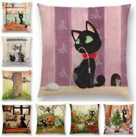 "18"" Cotton Linen Lovers Cat Pillow Case Cushion Cover Waist Cover Home Decor"