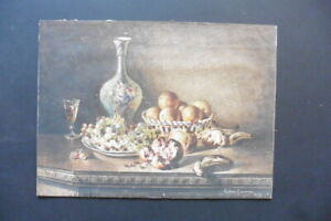 FRENCH SCH. 1879 - STILL LIFE - FRUIT, GLASS AND A VASE SIGN. CALVINI - W'COLOR