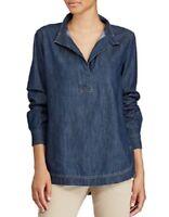 Lauren Ralph Lauren Women's Long Sleeve Denim Cotton Tunic Sapphire Wash, XL