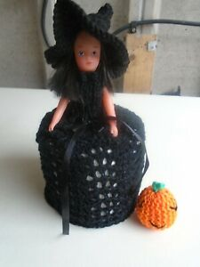 Hand  Knitted Halloween Witch Toilet Roll Doll Cover & Pumpkin