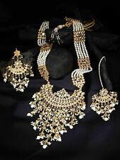 South Indian White Long Raani Haar Necklace Earrings Set Bollywood Women Jewelry