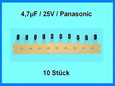 Elko - Kondens. Panasonic gegurtet 4,7µF (4.7uF) / 25V / ca. 4 x 7mm / 10 Stück