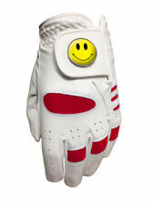 NEW JUNIOR RED ALL WEATHER GOLF GLOVE. YELLOW SMILEY BALL MARKER. ALL SIZES