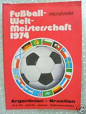 1974 World Cup Programme ARGENTINA v BRAZIL in Hannover, 30 June (Original*Exc)