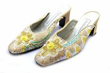 Valerie Stevens Sequin Flower Slides Mules Heels NWOB Size 9