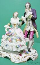 "Early Volkstedt Dresden Lace Figurine Courtin Couple on Bench 6.5"" German"