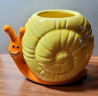 Vntg 50/60s Cheery Yellow/Orange Snail Succulent Planter OMC Japan Xclnt Cndtn