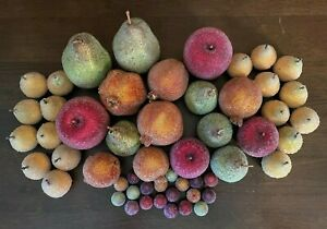 Lot of 53 Artificial Beaded Faux Fruit: Apples Pears Pomegranates & More