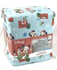 Disney Christmas Mickey Minnie Mouse Full Flannel Sheet Set - 4 Pieces