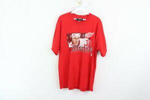 Vintage 90s Mens Large Detroit Red Wings Brendan Shanahan Hockey T-Shirt Red