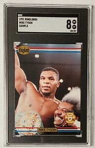 1991 Ringlords MIKE TYSON SGC 8 NM-Mint Boxing Sample Stamp on Back