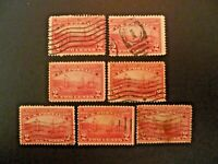 USA Lot of 7 1909 $.02 #372 Hudson-Fulton Issue Used - See Description & Images