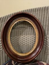 1 Antique Oval Wooden Picture Frame with Glass Gilded Liners opening is 8X10""