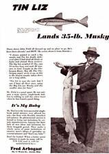 1930 Vintage ad Fred Arbogast Tin Liz Fishing Lure 35 Musky