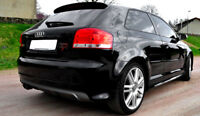 FOR AUDI A3 8P 3 DOOR S3 LOOK REAR BUMPER SPOILER / SKIRT / VALANCE / DIFFUSER