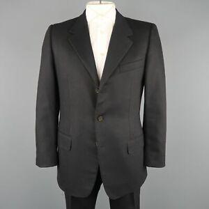 YVES SAINT LAURENT Rive Gauche by Tom Ford 42 Black Wool Felt Notch Lapel Suit