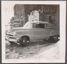 Vintage Car Photo 1952 Pontiac Canadian Chevrolet at Garage in Snow 750535