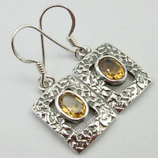 """OLD STYLE !! 925 SOLID Silver YELLOW Cut CITRINE GIRLS' DANGLING Earrings 1.3"""""""
