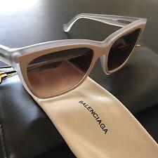 Balenciaga Women Sunglasses Beige Clear Oversized Square Frame Gradient BA66 NEW