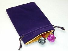 "New 4""X6"" Purple Velvet Dice Bag With Gold Satin Lining DnD Rpg"