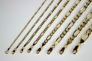 """10K REAL YELLOW GOLD 2mm - 8.5mm Figaro Chain Pendant Necklace Bracelet 7"""" - 30"""""""