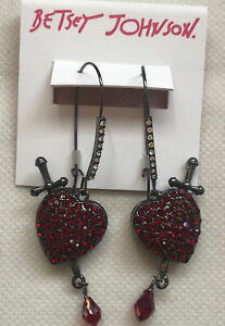 Betsey Johnson Glampire Heart Dagger Drop Earrings Hematite Tone Red Crystal NWT