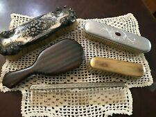 Lot of 5x Vtg Fancy Ornate Vanity Brushes, Hair Brush, Comb, Clothing Brush