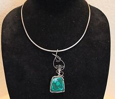 Artisan Sterling Silver Malachite Arts and Crafts Necklace