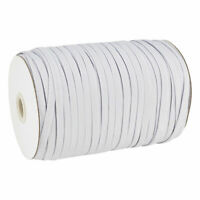 "200yds/Roll 1/4"" Flat Elastic Cords Knit Braided Sewing Bands Ropes White 6mm"