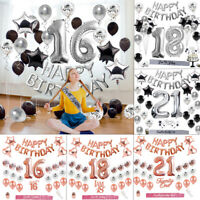 Rose Gold Foil Balloon Sets Kids Happy Birthday Banner Party Decor Supplies