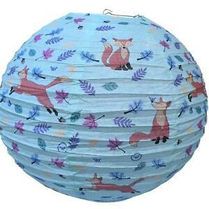 WILDLIFE FOX GREEN PAPER LANTERN LAMP SHADE KIDS CHILDREN BEDROOM CONSERVATORY