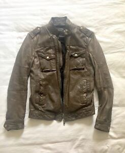 All Saints real leather biker jacket size S distressed look