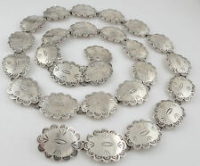 Ultra High Quality Modern Mexican Sterling Silver 219 Gram Concho Link Belt