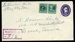 U.S. Scott 825 (2) on 1955 U534 Registered Story City, Iowa Cover