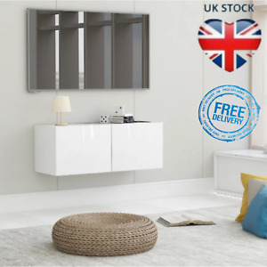Wall Mounted TV Unit Floating Cabinet TV Stereo Media Storage High Gloss White