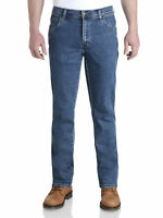 Wrangler Durable Stretch Denim Jeans Basic Regular Fit Stonewash Blue