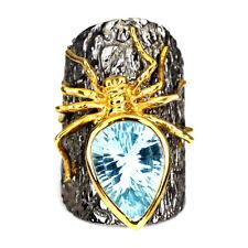 Handmade Pear Sky Blue Topaz 6.69ct 925 Sterling Silver Spider Adjustable Ring 8