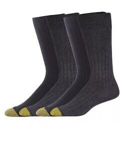 Socks Men's GOLDTOE4 Pair  Aqua Fx Size 10-13 new Rib Crew Black And Dark Gray