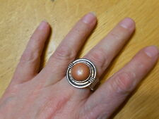 Paparazzi Stretch Band Ring (new) ROUND SILVER W/BROWN STONE CENTER #6